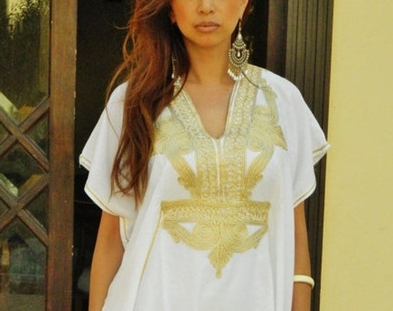 Resort Caftan Kaftan Marrakech - White with Gold Embroidery,  beach cover ups, resort wearwear, k,Autumn dress,beach kaftan,