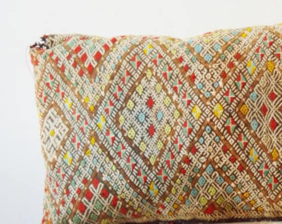 Spring Vintage Moroccan Pattern Kilim Berber Carpet Cushions-lumbar, vintage cushions, s, gifts for home, gifts for her
