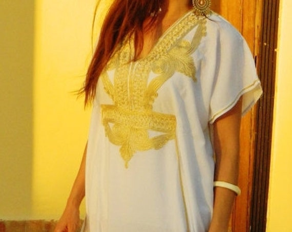 Kaftan Sale 20% Off/ Maternity wear Marrakech Style- White with Gold Embroidery