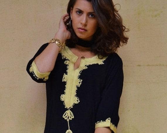 Kaftan Sale 20% Off/ Winter Bohemian Black with Brown Embroidery Moroccan Tunic Khalia-for gifts, holiday wear, casual wear, resortwear, bea