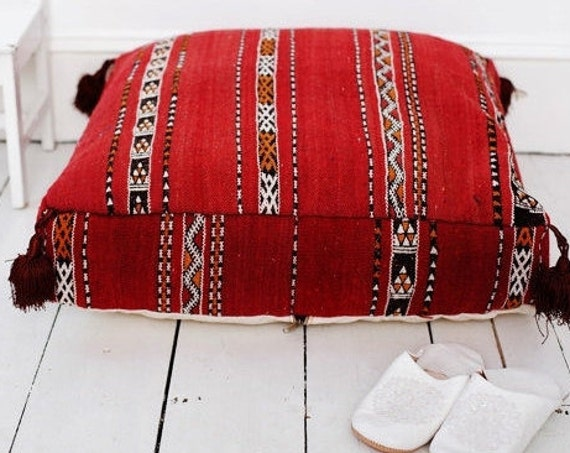 23''x23'' x 7'' Tribal Vintage Moroccan pouf, Red Berber pouffe, Floor cushion, Moroccan pouf, Floor pouf, autumn decor,  gifts