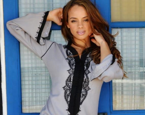 Grey with Black Caftan Kaftan Maxi Dress -Lella   -loungewear, as resortwear,spa robe,  Eid, Birthdays or Maternity Gifts,beach kaftan