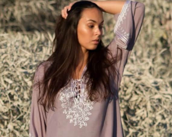 Grey Dress White Boho Tunic  Nadia// resortwear, bohemian clothing, embroidery top, trending, Autumn tunic,Marrakech Tunic,Autumn dress