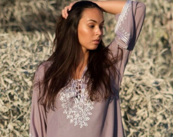 Spring Grey Dress Boho Tunic  Nadia/ Resortwear, bohemian clothing, embroidery top, tunic,Marrakech Tunic, Mother's day gift, loungewear