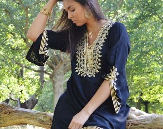 Gift Idea//Kaftan Sale / Black Tunic Dress Gold Embroidery Marrakech Boho Tunic - loungewear, resortwear, bohemian,Autumn dress,beach kaftan
