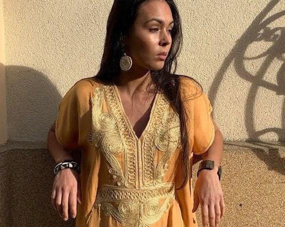 Spring Kaftan-Moroccan Yellow Gold Beach Caftan -beach cover up, resortwear wear, maternity wear, birthday, wedding gifts,stayhome wear