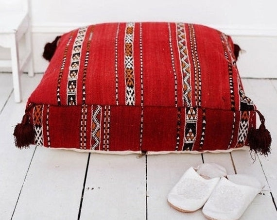 Autumn Pouf Sale 30% Off// Red Kilim Moroccan Floor Cushio -home gifts, wedding gifts, anniversary gifts, pouf