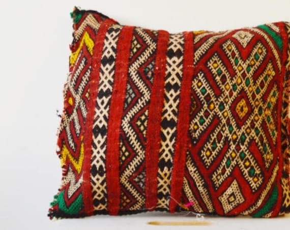 Spring Vintage Moroccan Red Pattern Kilim Berber Carpet Cushions-lumbar, vintage cushions, gifts, No.20, , Eid,,boxing day sale,summer dress