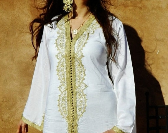 Kaftan Sale 20% Off/ White with Gold Caftan Kaftan - Lella Style-beautiful  loungewear,,resortwear,spa robe, wedding, Ramadan, Eid, Birthday