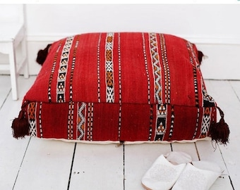 Autumn Winter Gifts, Red Kilim Moroccan Floor Cushion, home gifts, wedding gifts, anniversary, pouf,  gifts, autumn decor, christmas gifts