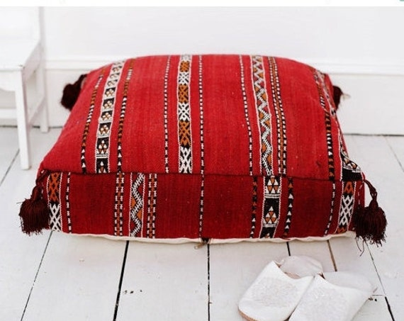Spring Red Kilim Moroccan Floor Cushio -home gifts, wedding gifts, anniversary gifts, pouf,  gifts, autumn decor, Spring decor