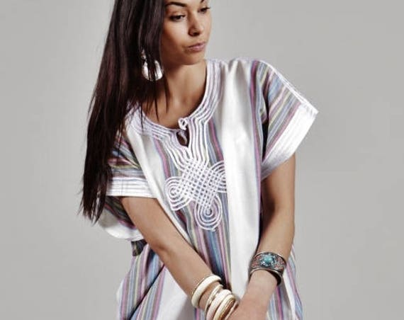 10% OFF // White Marrakech Bedouin Moroccan Beach kaftan loungewear, as beachwear,  gifts,  gifts, kaftan, caftan, b,winter sale