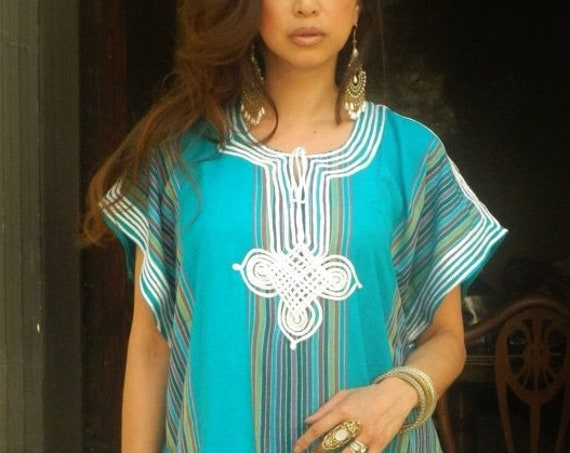Kaftan Sale 20% Off/  Trend Resort Caftan Kaftan Bedoin Style-Turquoise- loungewear,beachwear, Mother's gift for moms ,and to be moms,