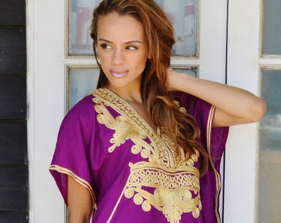 Kaftan, Plum Purple Gold Marrakech Resort Caftan Kaftan, loungewear, dresses, s, , maternity, spring dress,,,christmas gifts,christmas gifts