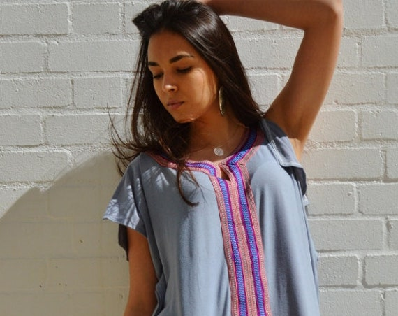 Spring Grey Blue Marrakech Bohochic Tee Kaftan Caftan- Beach Kaftan, Eid, dress, bohemian, beach kaftan, stayhome wear, lounge wear,recovery