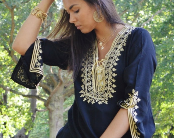 Black Tunic Dress with Gold Embroidery Marrakech Boho Tunic - Perfect as Casual wear, loungewear, resortwear, bohemian wear, winter dress