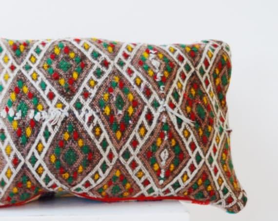 Vintage Moroccan Pattern Kilim Berber Carpet Cushions-lumbar, vintage cushions, christmas gifts, gifts, No.8, Ramadan, Eid,Black Friday