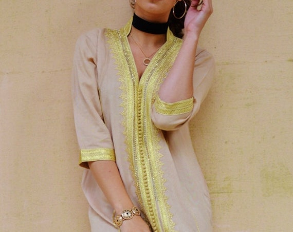 Winter Winter Beige Caftan Kaftan - Naima-loungewear, resortwear,, , or Maternity Gifts, moroccan,winter sale,boxing day sale
