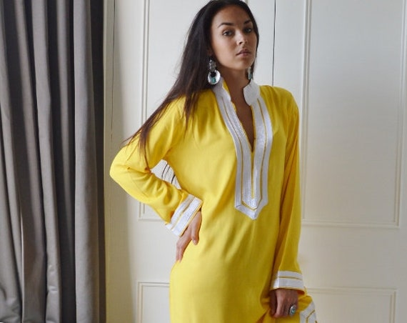 Yellow Caftan Kaftan- , Eid wear,  dress, loungewear,resortwear, wedding,  gift, beach cover up, Winter dress,,christmas gifts