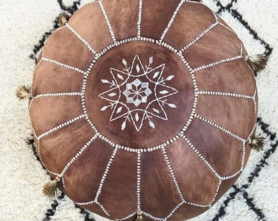 Tan Brown Moroccan Leather Pouf with Tassels & Pompoms >gifts, wedding gifts, anniversary gifts, foot stool, decor,  gifts