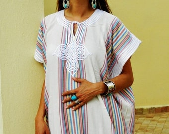Kaftan Sale 20% Off/ Bedouin Style Resort Caftan Kaftan- White-Perfect as loungewear, as beachwear,cover ups,resortwear, Kaftan, maternity,