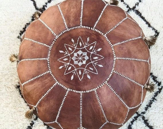 Tan Brown Moroccan Leather Pouf with TASSELS & POMPOMS >>  Home gifts, wedding gifts, anniversary gifts, foot stool,summer dress,Easter