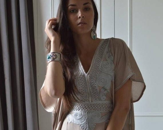 Kaftan Sale 20% Off/ Beige Caftan Resortwear with Grey Embroidery -loungewear,resortwear, great for  Birthdays, Honeymoon gifts