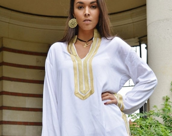 Kaftan Sale / Mariam Style White Tunic with Golden Embroidery-for Eid, birthday gifts, resort shirt, beach cover ups, resortwear, bea