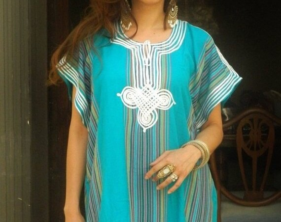 Kaftan Sale / Resort Caftan Kaftan Bedoin Style-Turquoise-loungewear,as beachwear, beach cover ups, resort wear, black friday, cyber monday