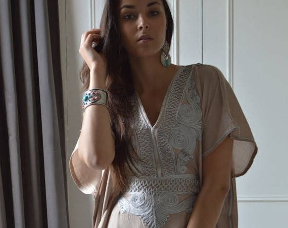 Beige Caftan Resortwear with Grey Embroidery -loungewear,resortwear, great for  Birthdays, Honeymoon gifts