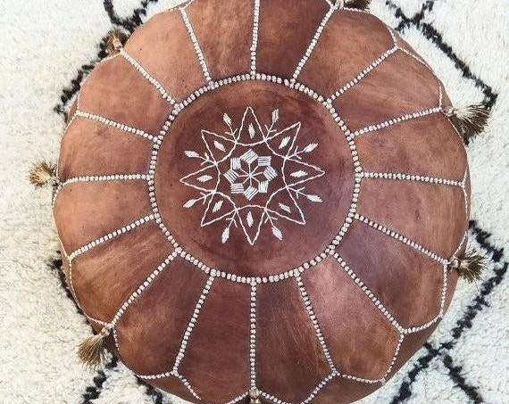 Autumn Tan Brown Moroccan Leather Pouf with Tassels & Pompoms-Home gifts,wedding gifts, foot stool, ottoman, cushion, gifts, decor