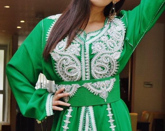 Autumn Autumn Moroccan Modern Emerald Green White Embroidery Caftan Kafan-Amelia-moroccan parties, weddings,abbayas, , , anniversary, dress,