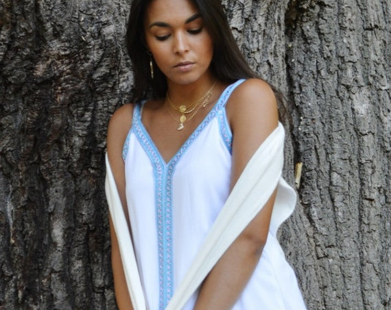 Autumn White Non-Sleeveboho Caftan Kaftan Maxi Dress Sahra - Caftan, beach wear, lounge wear, resort wear, beach cover ups, kaftan