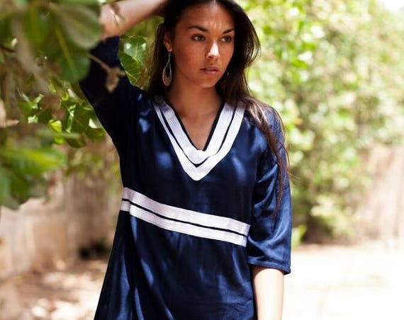 Winter Women's dress Navy Blue Maryam  Tunic Dress-Reina -bohemian dresses, women's dresses, bohemian, resortwear, holiday wear, gifts,