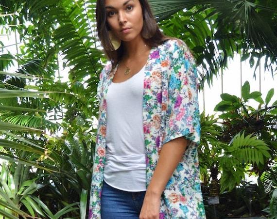 Spring Spring Floral Print Kimono, Jacket, long Jacket, Marrakech Kimono, Robe, Beach Kimono,  Jacket, Bohemian, Moroccan Jacket,Long Shirt,