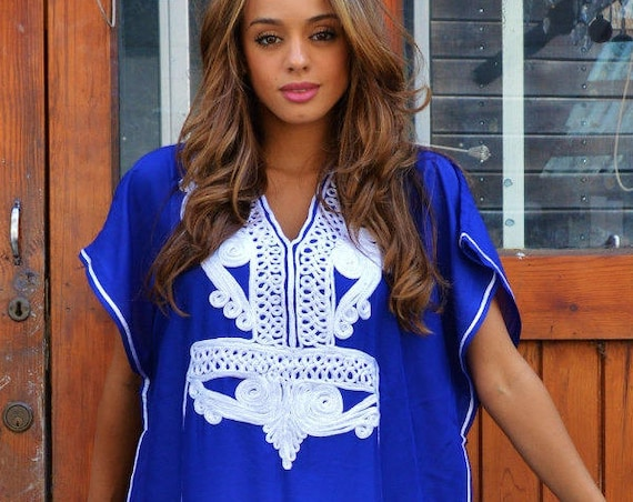 Blue White Marrakech Resort Caftan Kaftan -beach cover ups, resortwear,maxi, s, ,maternity gifts, maxi dress, moroccan,summer dress,, lounge