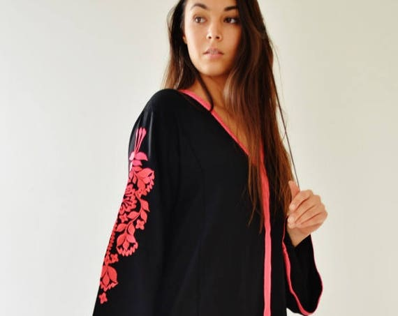 Spring Sale//Black Floral Marrakech Bohochic Kaftan Caftan, Stay home Kaftan, Loungewear, Dress, Embroidered kaftan, Lounge Kaftan, Moroccan