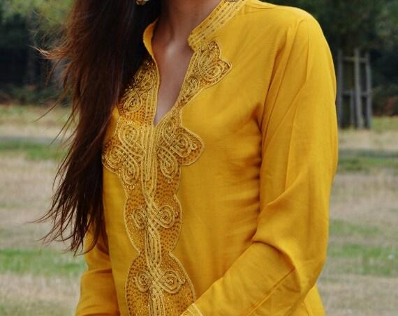 Autumn Dark Yellow Moroccan Bedouin Tunic-shirt, moroccan shirt, resort wear,beach wear, handmade tunic, Ramadan, Eid,,s,,Ramadan,Easter