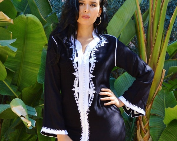Spring Spring  Kaftan Clothing Black White Warda Moroccan Caftan Kaftan -maxi, resort, beach cover up, , Maternity Gifts, , Eid, dress,