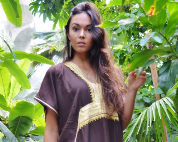Kaftan, Kaftan dress, Caftan, Brown & Gold Marine Marrakech Kaftan, Beach dress, beach cover ups, resortwear, beach kaftan, maternity kaftan