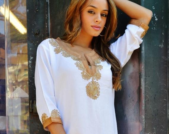 Summer Kaftan White Brown Caftan Kaftan Maxi Dress-Khalia loungewear,resortwear,  Eid, , Abaya,Maternity Gifts, , Eid, dress,beach kaftan