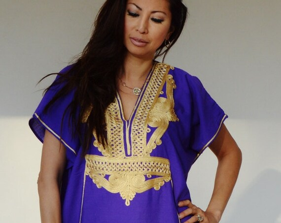 Kaftan Blue Purple with Gold  Marrakech Resort Caftan Kaftan ,beach cover ups, resortwear,loungewear, maxi dresses, birthdays gift