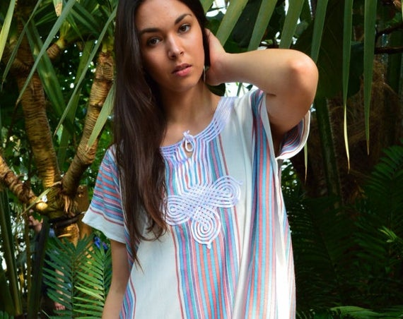 New White Bedouin Resort SHORT Tunic Caftan Kaftan - Summer dress, spring dress,beach cover ups, resortwear,loungewear, birthdays