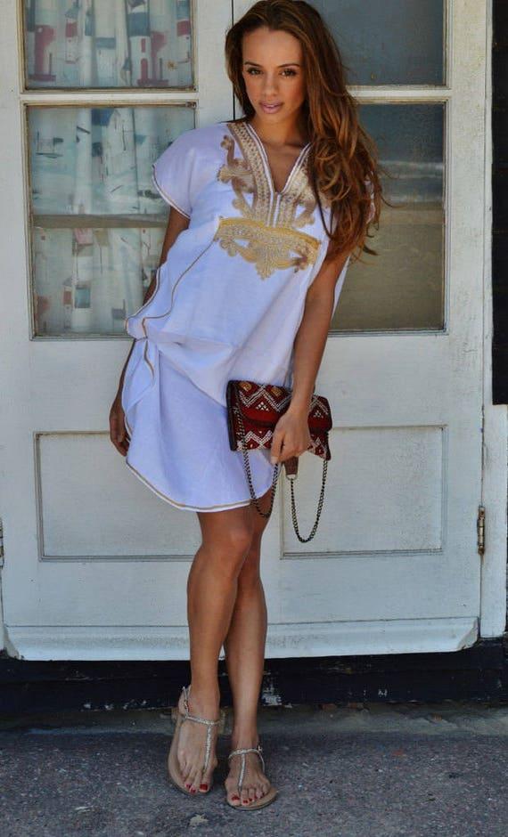 Beach Dress Kaftan White Gold Marrakech Resort Short Tunic Caftan Kaftan ,beach kaftan, resortwear,loungewear, birthdays, summer dress