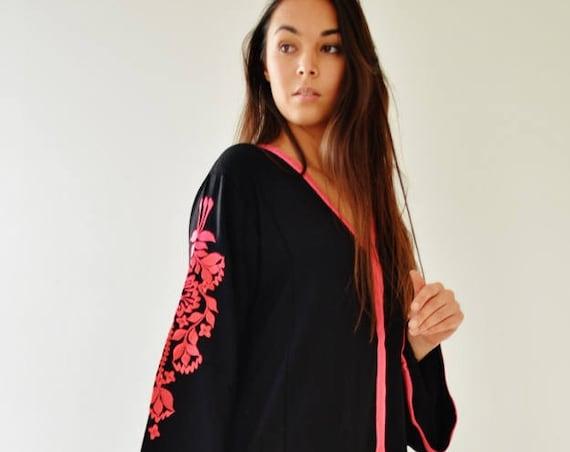 Summer Sale//Black Floral Marrakech Bohochic Kaftan Caftan, Stay home Kaftan, Loungewear, Dress, Embroidered kaftan, Lounge Kaftan, Moroccan