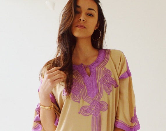 Spring Dress Kaftan Clothing Beige Lilac Caftan Kaftan Maxi Dress -Aziza -loungewear, as resortwear, , Maternity, Spring dress,summer dress