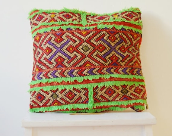 Spring Spring Vintage Moroccan Neon Green Trim Pattern Kilim Berber Carpet Cushions-lumbar, vintage cushions, gifts, No.16, , Eid, dress,