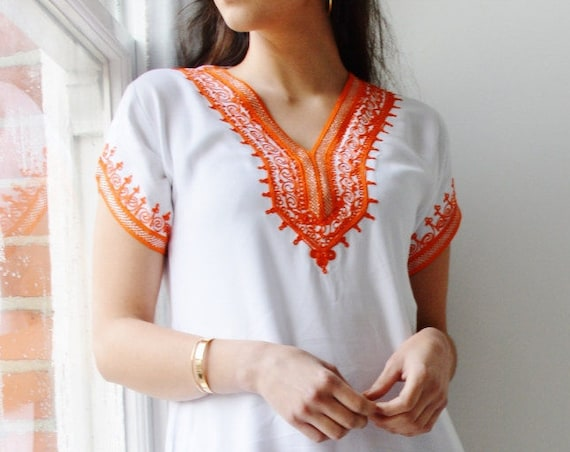 Summer White with Orange Tunic Dress Summer Dress -Lena -Summer dresses, women's dresses, bohemian, resortwear, holiday wear, gifts,, lounge