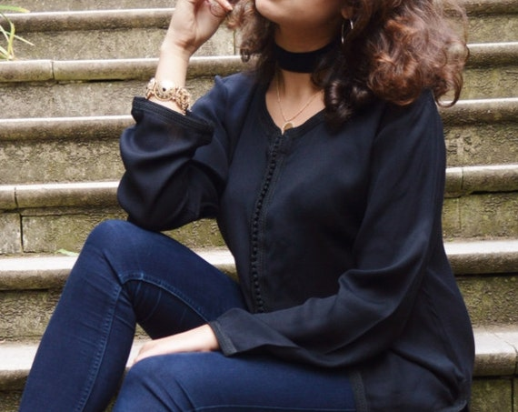 Trend| Sara  Black Magrib Shirt - perfect as eid gifts, as birthday, honeymoon gifts,anniversary gifts, wedding gifts, bohemian,beach kaftan