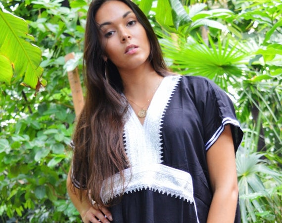 Kaftan, Caftan,Black & Silver Marine Marrakech Kaftan,Beach dress, beach cover ups, resortwear, beach kaftan, maternity kaftan, winter dress